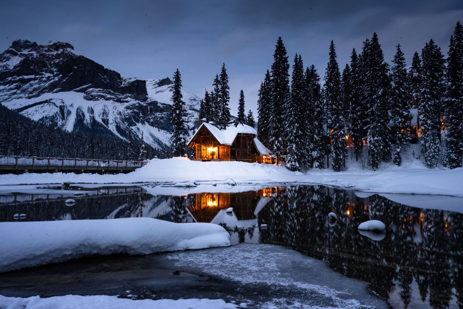 Emerald Lake with Mirrored Cabin At Dusk